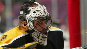 it also recalls a design worn by steve shields then of the bruins in a nod to gary cheevers who famously had stitches drawn all over his facemask