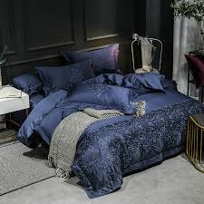 luxury egyptian cotton dark blue embroidered queen king duvet cover set
