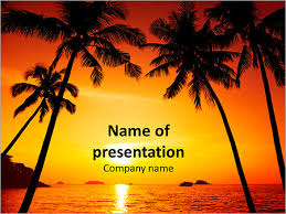 Summer Powerpoint Templates Palm Trees And A Beautiful Summer Sunset Powerpoint Template Infographics Slides