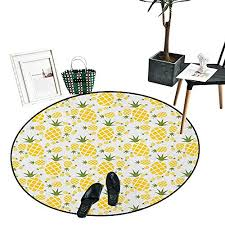 green and yellow round area rug rhombus pineapple with blooming