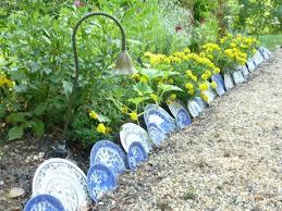 using plates as garden edging
