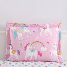 mainstays kids rainbow unicorn bed in a bag complete bedding set multiple sizes com