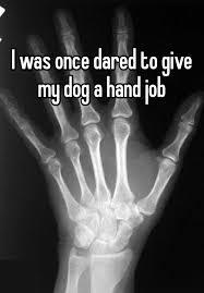 Wife giving dog hand job