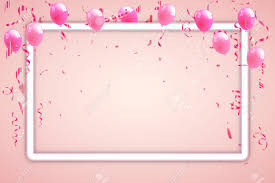 Confetti And Pink Ribbons Celebration Pink Background Template