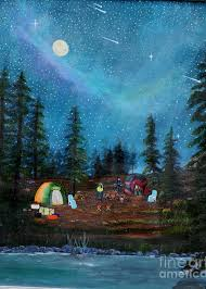 Camping Under the Stars Painting by Myrna Walsh