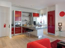 Small Red Kitchen Appliances Beautiful Small Studio Bright Red Sofa Red Glossy Kitchen