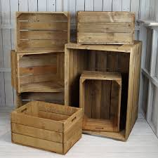 set of wooden display crates