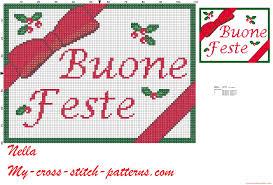 Natale buone feste con fiocco schema punto croce - schemi punto croce  gratis facili unici alfabeti bambini