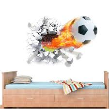 flying firing football wall stickers kids room decoration 1473 home decals soccer funs 3d mural art sport game pvc diy posters