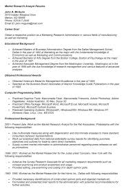 Cover Letter Market Research Analyst Resume Sample With