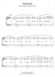 Hallelujah Piano Sheet Music By Leonard Cohen Easy Piano