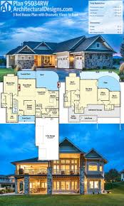 homes the sloping lot narrow sloped house plans view architectural designs plan designed rear gives block builders small frontage with garage lake walkout