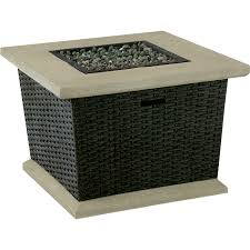 beautiful lowes fire pits gas shop allen roth somersville 34 5 in w 50 000 btu brown wicker wicker fire pit p15