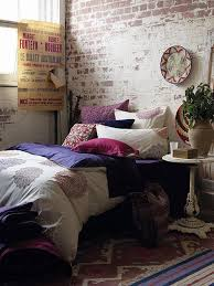 Industrial Bedroom Style Plus Chic Brick Walls And Plate Decor Art And  Pattern Area Rug Also Purple Quilt Bedding And Red Print Pillow Plus Round  Side Table