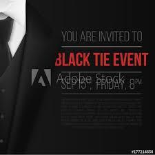 Illustration Of Vector Black Suit Black Tie Event Invitation