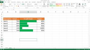 How To Create A Budget Vs Actual Chart In Excel Create An In Cell Actual Versus Target Chart