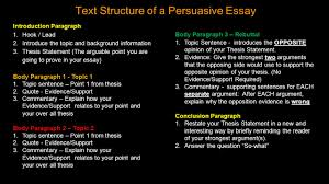 the persuasive essay a persuasive essay convinces readers to text structure of a persuasive essay introduction paragraph 1 hook lead 2 introduce