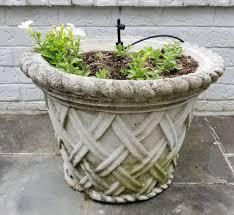 pair cast stone lattice motif garden