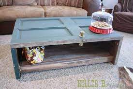 reclaimed door and walnut coffee table