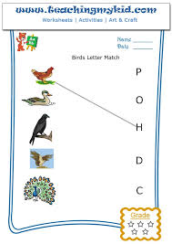 printable puzzles for kids match birds with letter of name 1
