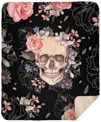 cool rose flowers sugar skull blanket