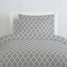 silver gray and navy hand drawn quatrefoil duvet cover