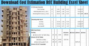 Rcc Building Design Software Free Download Download Cost Estimation Rcc Building Excel Sheet