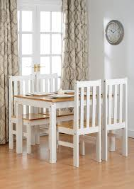dining table sets. Seconique Ludlow Dining Set - White And Oak Table 4 Slatted, Highback Chairs: Amazon.co.uk: Kitchen \u0026 Home Sets