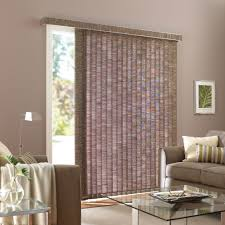 dainty living room with astounding sliding glass door blinds made of fabric material colored in brown