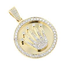rolex style diamond pendant 3ct yellow white gold crown medallion yellow image