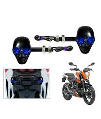 44 off on sdwav blue led black skull bike indicators embly for ktm duke 200 set of 2 on snapdeal paisawapas