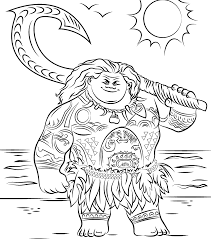 Fascinating Coloring Pages Moana Free Disney Activity Page Maui