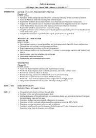 Tester Resumes Web Tester Resume Samples Velvet Jobs