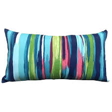 allen roth blue and striped rectangular lumbar pillow with outdoor throw pillows 848977001299 on