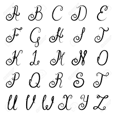 Calligraphic Vintage Script Font Alphabet With Isolated Letters