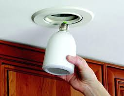in light socket this super cool wireless speaker s into any light socket and streams in light socket