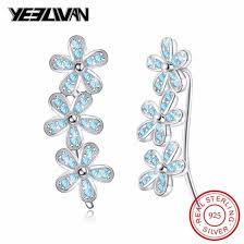 Shop New <b>Trendy 925 Sterling Silver</b> Flower Crystal Stone Clip ...