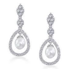 bridal pearl pave cz silver teardrop chandelier earrings