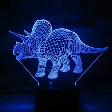 Triceratops Light Us 12 1 32 Off Triceratops Dinosaur Illusion 3d Lamp 7 Color Change Remote Touch Led 3d Night Light Kids Lampara Baby Sleeping Atmosphere Lamp In