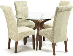 serene islington walnut round dining set with 2 kingston cream fl and 2 sage fl chairs