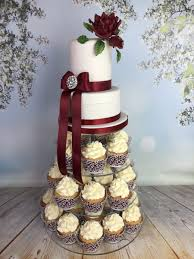 Wedding Cake Cupcake Tower With Red Rose Mels Amazing Cakes