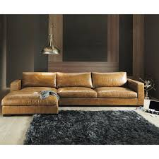 vintage brown leather sectional corner sofa seats 3 4 lincoln