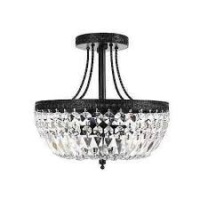 crystal basket 3 light antique black flush mount chandelier ceiling fixture