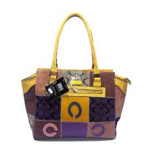 Coach Holiday Logo Medium Yellow Satchels DKD Clearance Outlet Sale