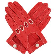 womens leather driving gloves red