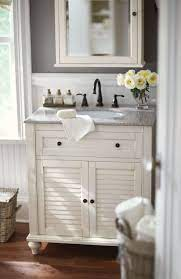 Small Bath No Problem A Single Vanity Like This One Is The Answer Loving Its Shutte Small Bathroom Furniture Bathroom Vanity Designs Small Bathroom Vanities