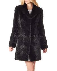 black mid thigh chevron textured mink fur coat