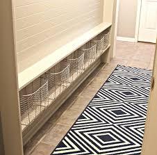 black and white geometric runner rug