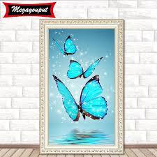New Diy 5d Diamond Painting Kits Embroidery Blue Butterfly Cross Stitch Kits Living Room Mosaic Pattern Home Decor Bi28