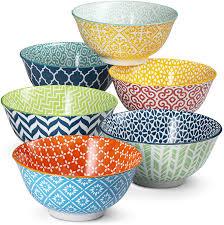 Ceramic Bowl Designs Cereal Bowls By Kook Ceramic Make Multi Color Designs Perfect For Yoghurt Dessert Poki Set Of 6